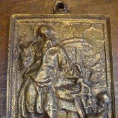 Antigüedades: PLACA DE BRONCE DEVOCIONAL SAN JOSÉ Y EL NIÑO JESÚS - SIGLO XVII. Lote 100302303