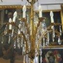 Antigüedades: ANTIGUA Y PRECIOSA LAMPARA DE BRONCE DORADO CON BRAZOS VEGETALES. Lote 100304963