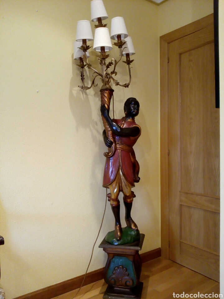 Antigüedades: LÁMPARA VENECIANO, BLACKAMOOR, ART DECO, TORCHERO, ORIENTALISTA, VENECIA, NEGRO - Foto 2 - 100309511
