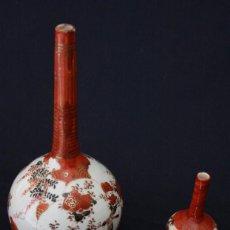 Antigüedades: ANTIGUA PAREJA DE JARRONES DE PORCELANA JAPONESA FINALES DEL SIGLO 19 .. Lote 100328811