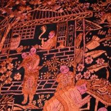 Antigüedades: ESPECTACULAR MANTON CHINOS, ESTILO CANTONES EN ROJO Y TONOS ROJIZOS. Lote 100340991