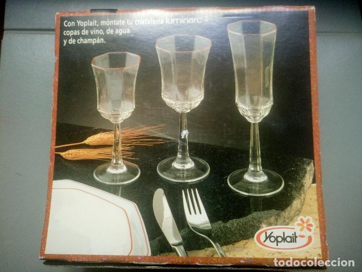 Antigüedades: juego de 2 copas arcopal yoplait nuevas en su caja años 80 - Foto 2 - 100363579