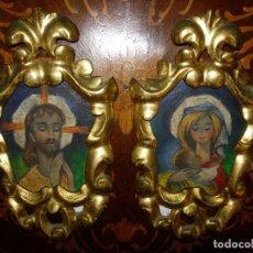 Antigüedades: 2 CORNUCOPIAS AÑO 1840, MADERA Y ORO, PINTURAS OLEO. Lote 100382783