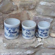 Antigüedades: TARROS DE COCINA DE CERÁMICA ANTIGUA. Lote 100386663