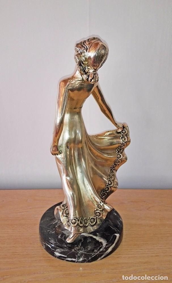 Antigüedades: figura metal mujer bailando chica bailarina escultura exenta - Foto 3 - 100404235