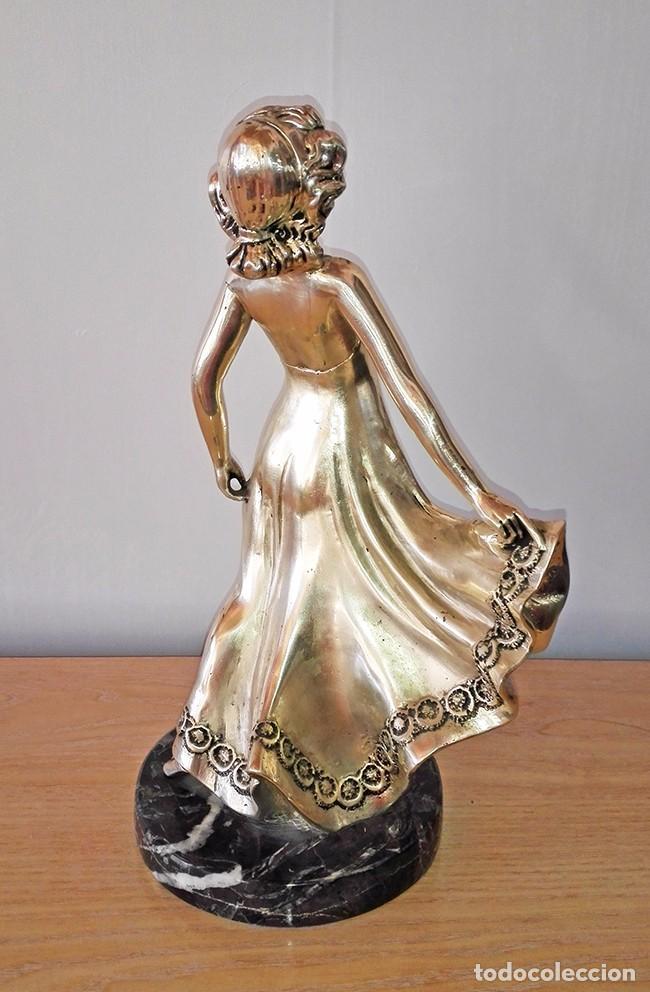 Antigüedades: figura metal mujer bailando chica bailarina escultura exenta - Foto 4 - 100404235