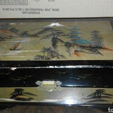 Antigüedades: BAÚL JAPONÉS DE MADERA PINTADO Y LACADO EN NEGRO AÑOS 60 CON MUSICA. Lote 100414960