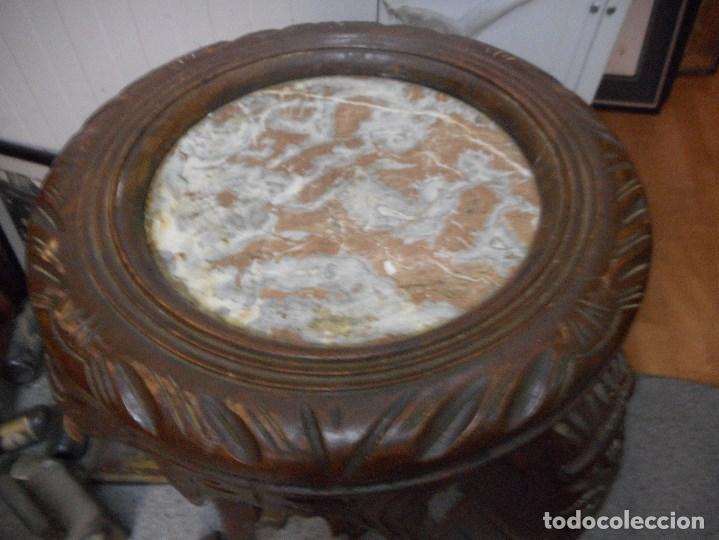 Antigüedades: antigua mesa mesita velador de procedencia indu patas elefante con colmillo marfil - Foto 5 - 100425635