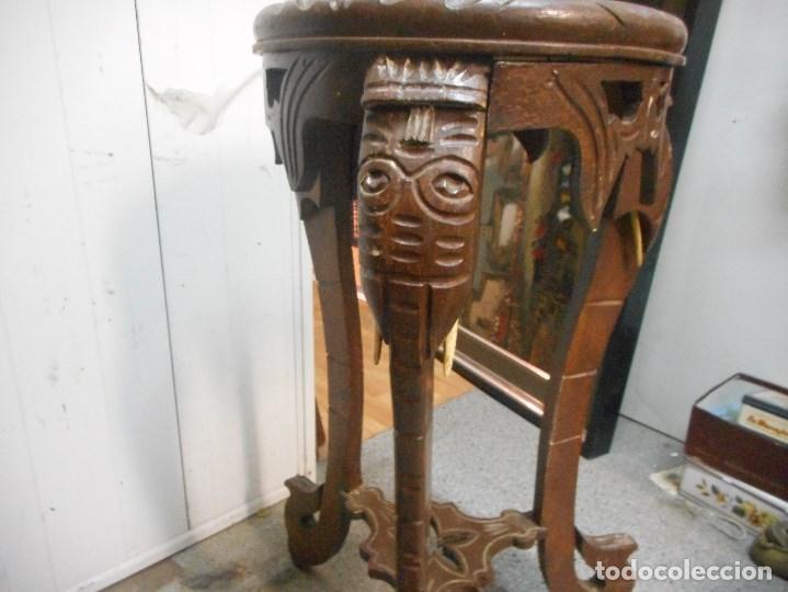 Antigüedades: antigua mesa mesita velador de procedencia indu patas elefante con colmillo marfil - Foto 14 - 100425635