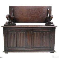 Antigüedades: BANCO DE MADERA ROBLE ANTIGUO. Lote 100432251