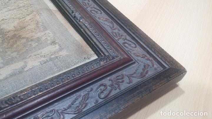 Antigüedades: Antiguo cuadro tapiz con un velero , con un marco en madera precioso - Foto 18 - 100473571
