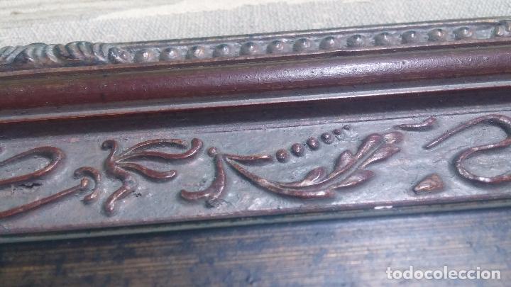 Antigüedades: Antiguo cuadro tapiz con un velero , con un marco en madera precioso - Foto 26 - 100473571
