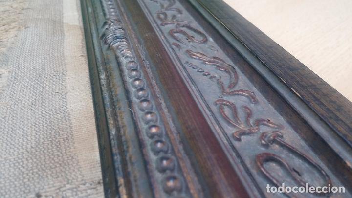 Antigüedades: Antiguo cuadro tapiz con un velero , con un marco en madera precioso - Foto 28 - 100473571