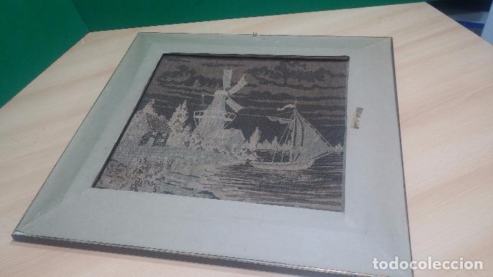 Antigüedades: Antiguo cuadro tapiz con un velero , con un marco en madera precioso - Foto 31 - 100473571