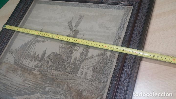 Antigüedades: Antiguo cuadro tapiz con un velero , con un marco en madera precioso - Foto 42 - 100473571