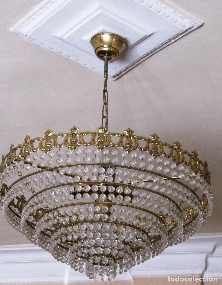 ANTIGUA LAMPARA REDONDA DE CRISTALITOS. 40 CMS DE DIAMETRO. MUY BUEN ESTADO (Antigüedades - Iluminación - Lámparas Antiguas)