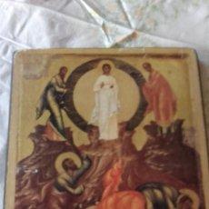 Antigüedades: ANTIGUO ICONO RELIGIOSO,LAMINA PEGADA EN MADERA.. Lote 100496563