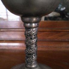 Antigüedades: 12,8 CM ALTURA COPA CALIZ METAL. Lote 174379383