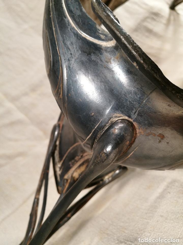 Antigüedades: CENTRO DE MESA JARDINERA MODERNISTA ART NOUVEAU ORIGINAL-PELTRE ESTAÑO Y CRISTAL SOPLADO 1900-1920 - Foto 14 - 100506071