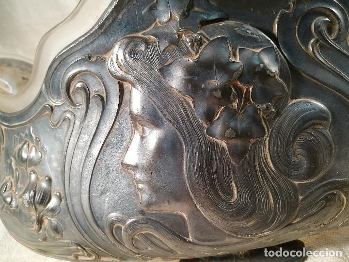 Antigüedades: CENTRO DE MESA JARDINERA MODERNISTA ART NOUVEAU ORIGINAL-PELTRE ESTAÑO Y CRISTAL SOPLADO 1900-1920 - Foto 46 - 100506071