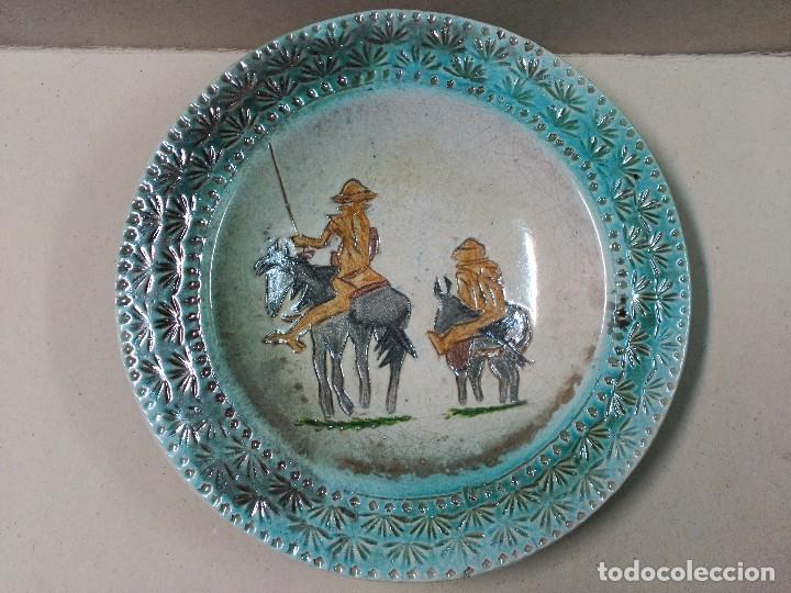 PLATO DE DON QUIJOTE Y SANCHO PANZA DE CERAMICA GUADIAMURO (Antigüedades - Porcelanas y Cerámicas - Otras)