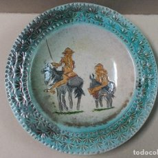 Antigüedades: PLATO DE DON QUIJOTE Y SANCHO PANZA DE CERAMICA GUADIAMURO. Lote 100508975