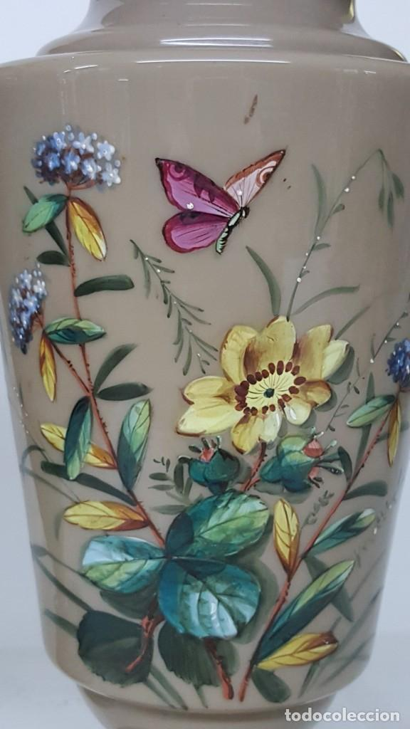 Antigüedades: Preciosa pareja de floreros opalina y esmaltes. Finales siglo XIX. - Foto 8 - 100526823