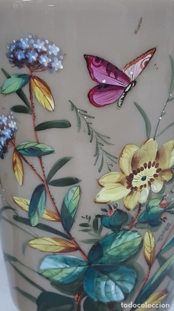 Antigüedades: Preciosa pareja de floreros opalina y esmaltes. Finales siglo XIX. - Foto 9 - 100526823