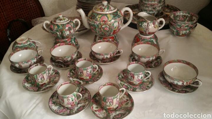 JUEGO DE CAFÉ Y TÉ DE PORCELANA CHINA DE MACAO . PINTADO A MANO. (Antigüedades - Porcelanas y Cerámicas - China)