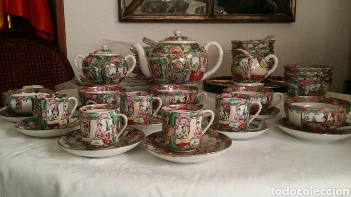 Antigüedades: Juego de café y té de porcelana China de Macao . Pintado a mano. - Foto 2 - 100540732
