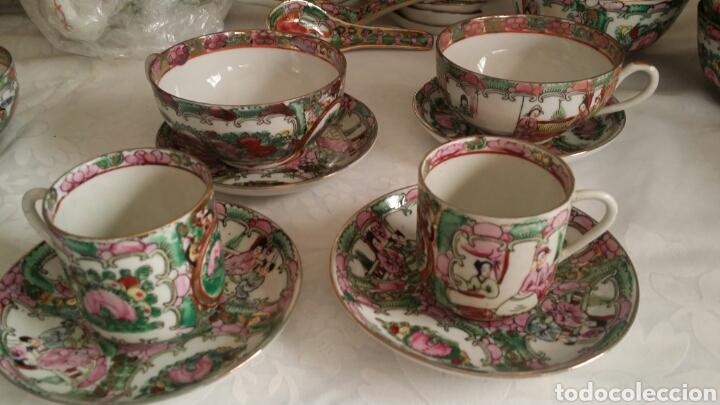 Antigüedades: Juego de café y té de porcelana China de Macao . Pintado a mano. - Foto 3 - 100540732