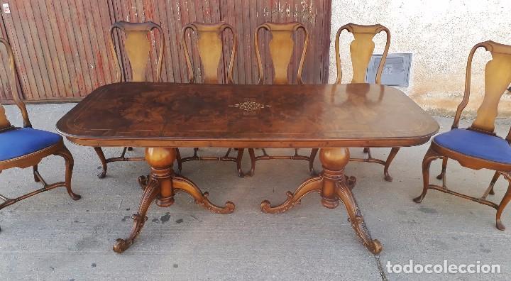 Mesa de sal n comedor antigua con seis sillas a comprar for Sillas de comedor antiguas