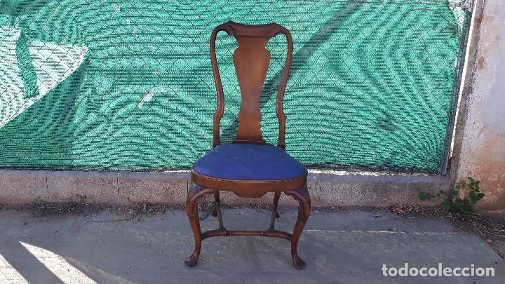 Siller a antigua de nogal estilo reina ana 6 s comprar sillas antiguas en todocoleccion - Sillas estilo ingles ...