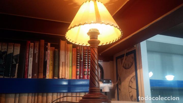 Antigüedades: Estupenda lampara de sobremesa en madera, muy acogedora. - Foto 7 - 100554723