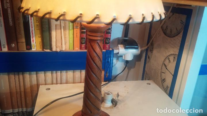 Antigüedades: Estupenda lampara de sobremesa en madera, muy acogedora. - Foto 13 - 100554723