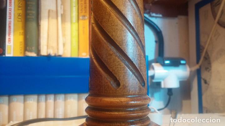 Antigüedades: Estupenda lampara de sobremesa en madera, muy acogedora. - Foto 17 - 100554723