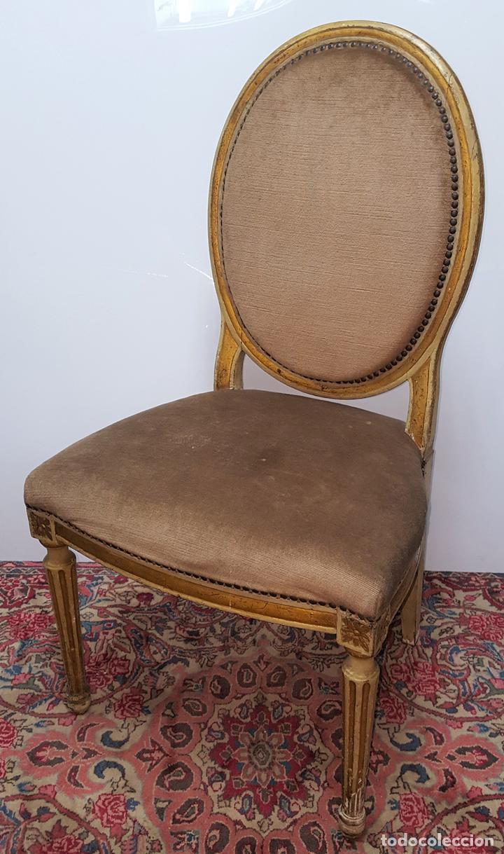 Silla estilo luis xvi madera tallada y dorada comprar sillas antiguas en todocoleccion - Sillas estilo luis xvi ...