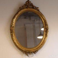 Antigüedades: ESPEJO ANTIGUO OVALADO DE PAN DE ORO. Lote 100652651