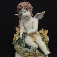 Antigüedades: FIGURA ANGEL CAPODIMONTE 11CM ALTO. Lote 100661171