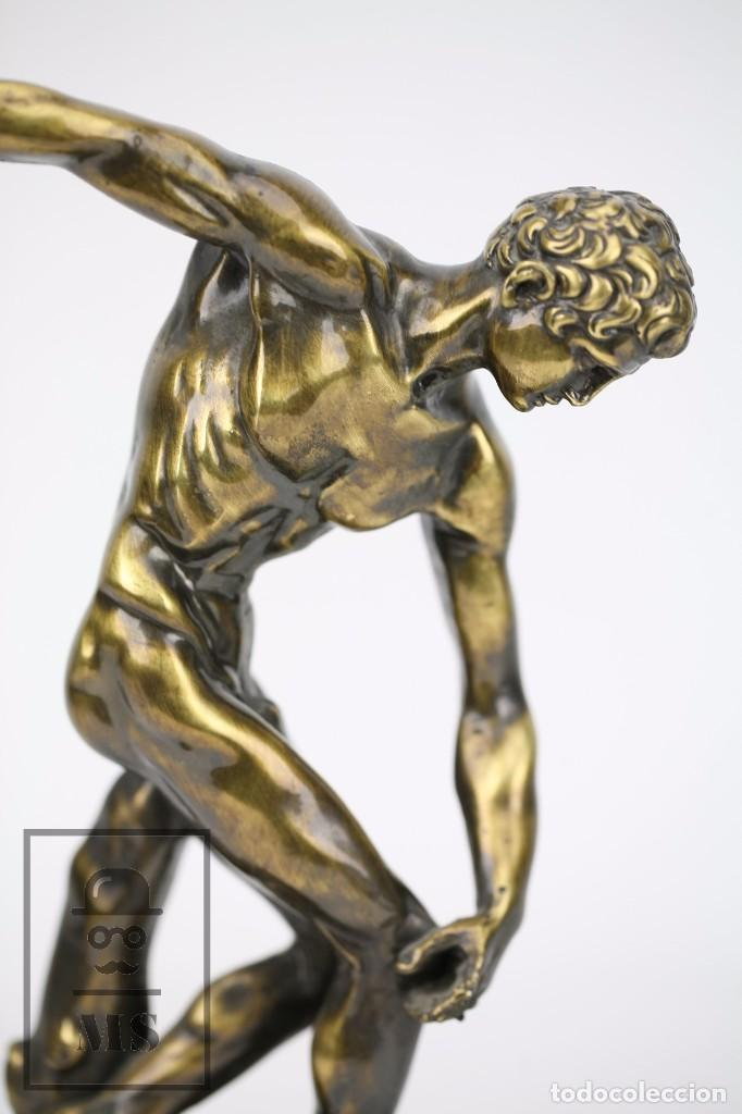 Antigüedades: Escultura de Resina o Similar Sobre Base de Mármol Negro - Reproducción Escultura Griega Discóbolo - Foto 4 - 100709459