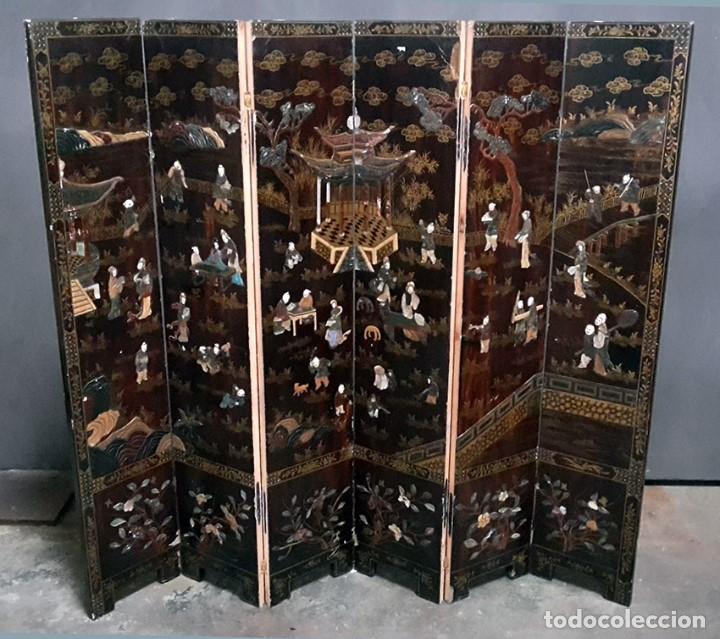 Biombo chino lacado comprar muebles auxiliares antiguos en todocoleccion 128992670 - Biombos chinos antiguos ...