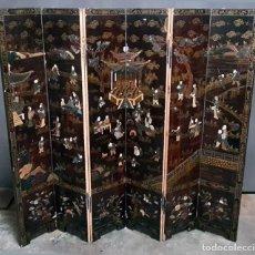 Antigüedades: BIOMBO CHINO LACADO. Lote 128992670