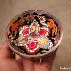 Antigüedades: CUENCO DE CRISTAL ESMALTADO. FIRMADO ROYO. PLATO. Lote 100757143