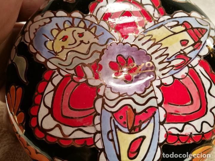 Antigüedades: Cuenco de cristal esmaltado. FIRMADO Royo. PLATO - Foto 2 - 100757143