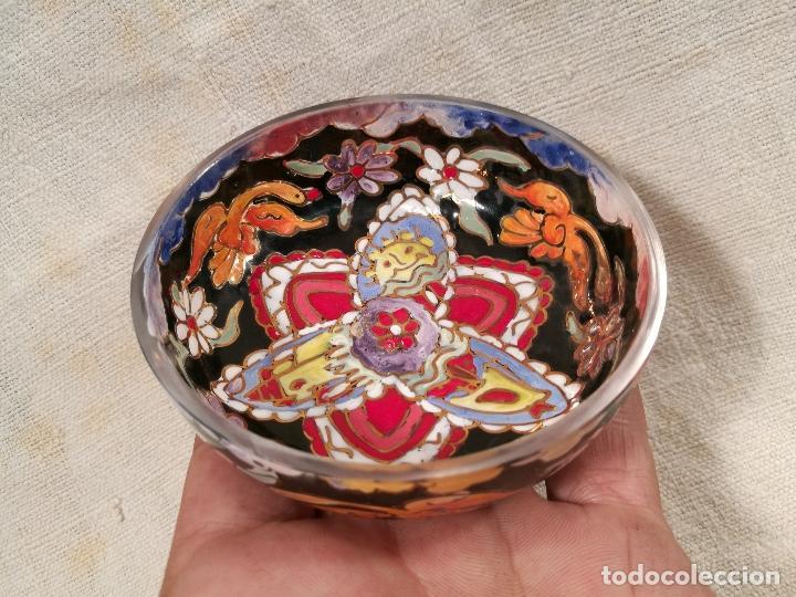 Antigüedades: Cuenco de cristal esmaltado. FIRMADO Royo. PLATO - Foto 5 - 100757143
