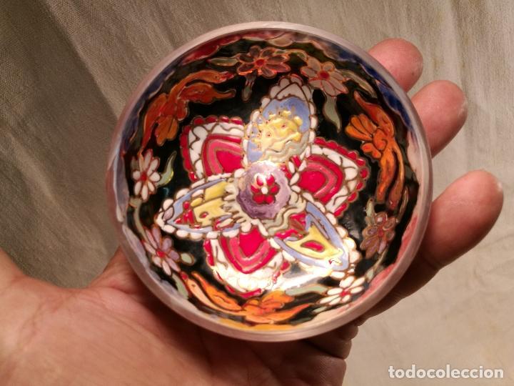 Antigüedades: Cuenco de cristal esmaltado. FIRMADO Royo. PLATO - Foto 7 - 100757143