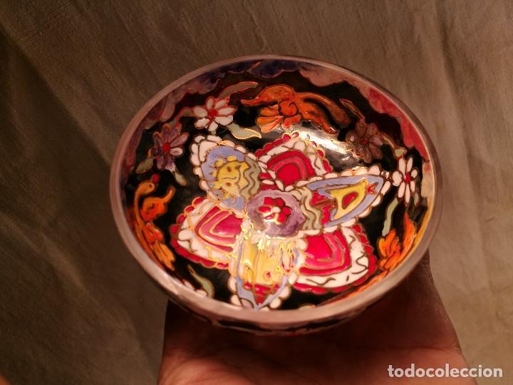 Antigüedades: Cuenco de cristal esmaltado. FIRMADO Royo. PLATO - Foto 8 - 100757143