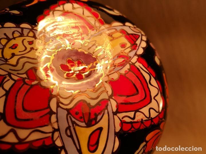 Antigüedades: Cuenco de cristal esmaltado. FIRMADO Royo. PLATO - Foto 10 - 100757143