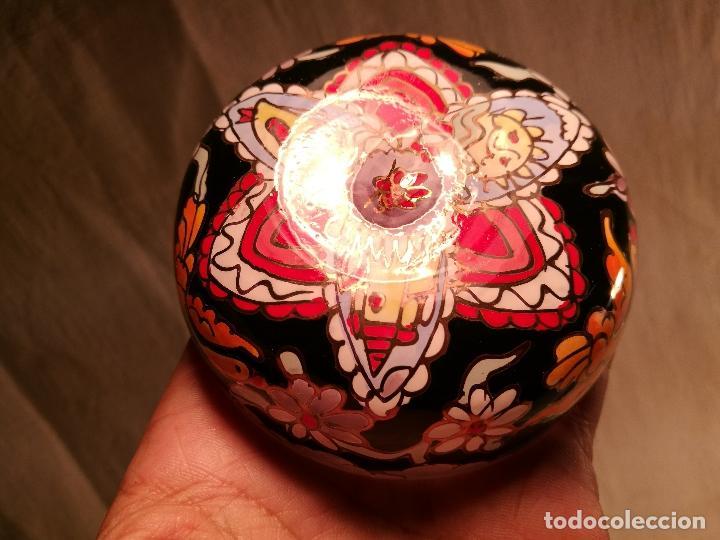 Antigüedades: Cuenco de cristal esmaltado. FIRMADO Royo. PLATO - Foto 11 - 100757143