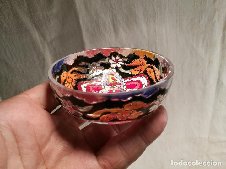 Antigüedades: Cuenco de cristal esmaltado. FIRMADO Royo. PLATO - Foto 12 - 100757143